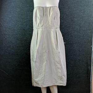 J Crew Plus Size Strapless Satin Silver Dress
